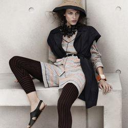 Silk Blouse, $99; Sleeveless jacket, $99; Leggings, $39.95; Sandals, $59.95