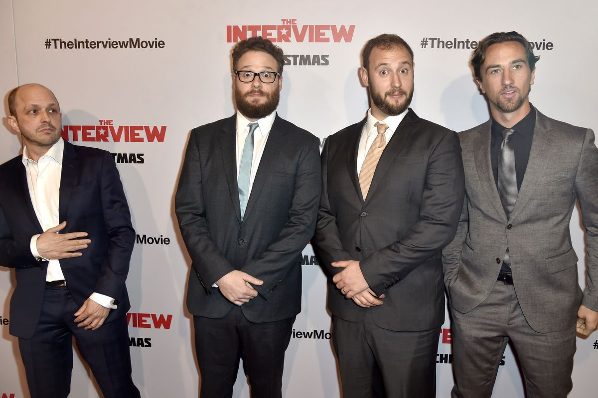 The writers and producers of The Interview, including star Seth Rogen (center left) gather at the film's premiere.