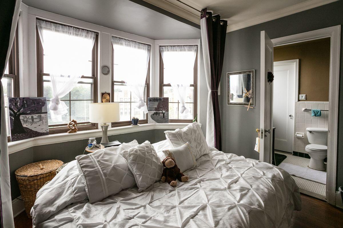 The master bedroom also has bay windows