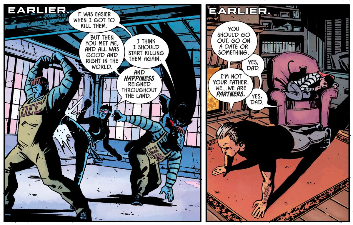 Selina Kyle and Thomas Wayne fight crime together in the Flashpoint timeline, in Batman #84, DC Comics (2019).