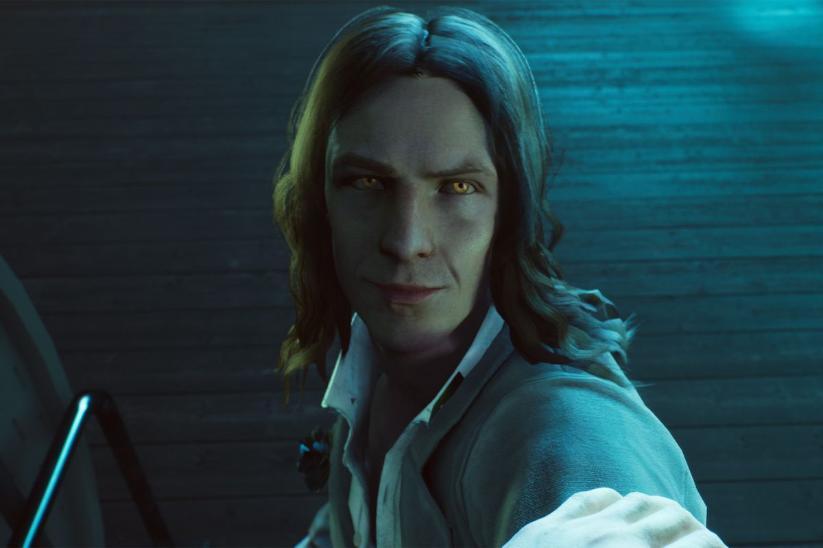A vampire looks at the camera in a still from Vampire The Masquerade — Bloodlines 2