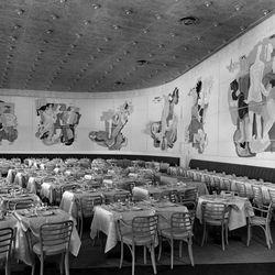 "The dining room at the Belgium pavilion restaurant via <a href=""http://www.worldsfaircommunity.org/topic/10603-belgium-pavilion-restaurant/"">The World's Fair Community</a>."