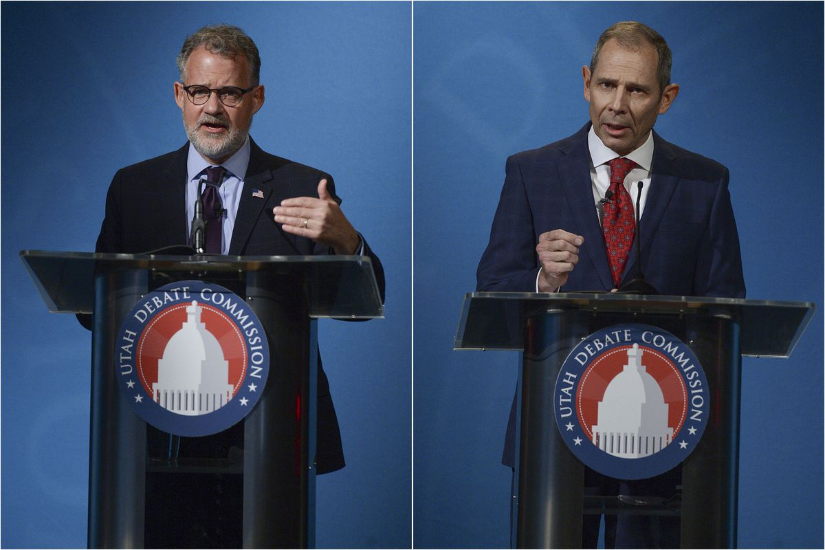 Democrat Devin Thorpe, a candidate for Utah's 3rd Congressional District, left, and Rep. John Curtis, R-Utah, right, pictured in this composite photo, participate in an October debate at the Triad Center in Salt Lake City, Oct. 15, 2020.