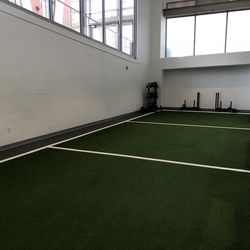 The fitness center also has a small turf area for short sprints and shuttles.
