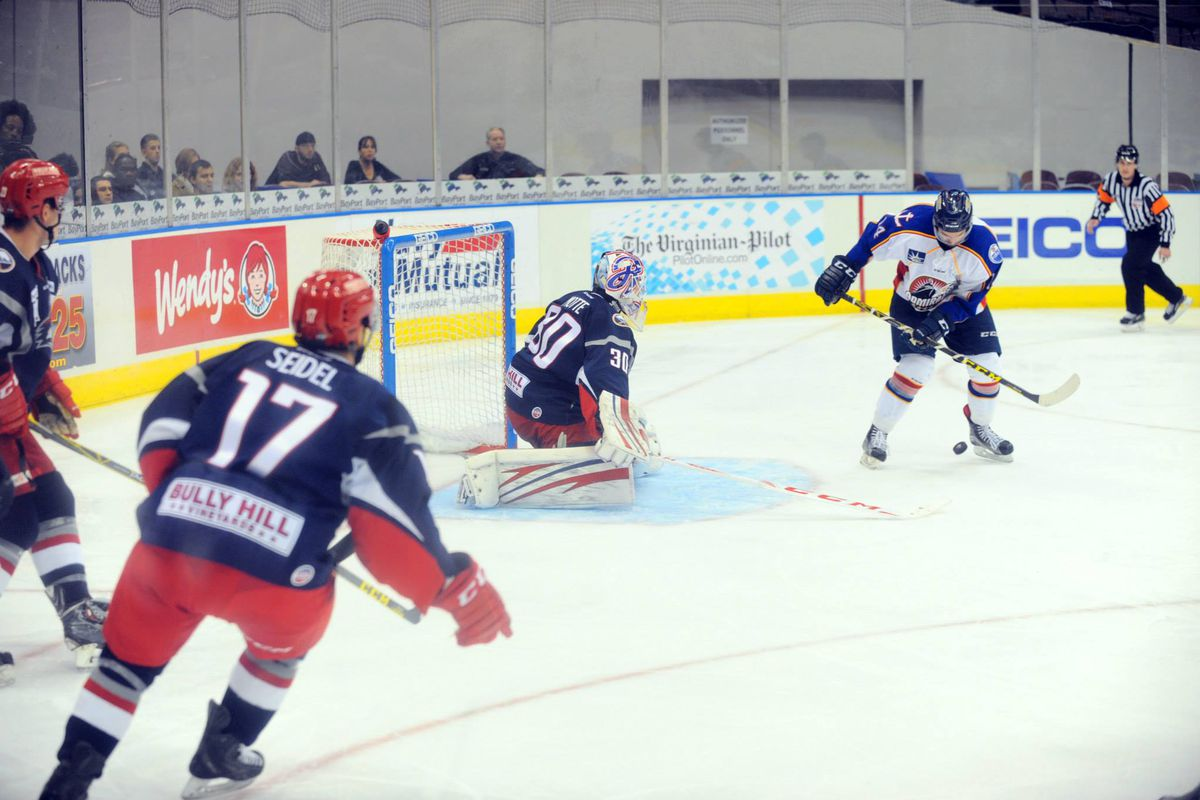 Marco Roy, alone in front of the Elmira Jackals' net, attempts to settle a puck for a shot on goal.  Nov 10, 2015