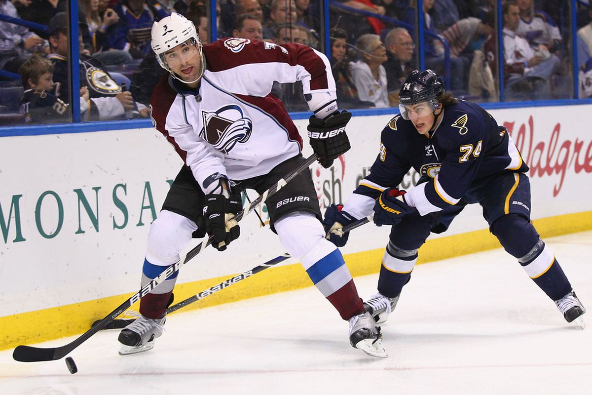 ST. LOUIS, MO - JANUARY 7: Ryan O'Byrne #3 of the Colorado Avalanche clears the puck the Blues  on January 7, 2012 in St. Louis, Missouri.  The Blues beat the Avalanche 4-0.  (Photo by Dilip Vishwanat/Getty Images)