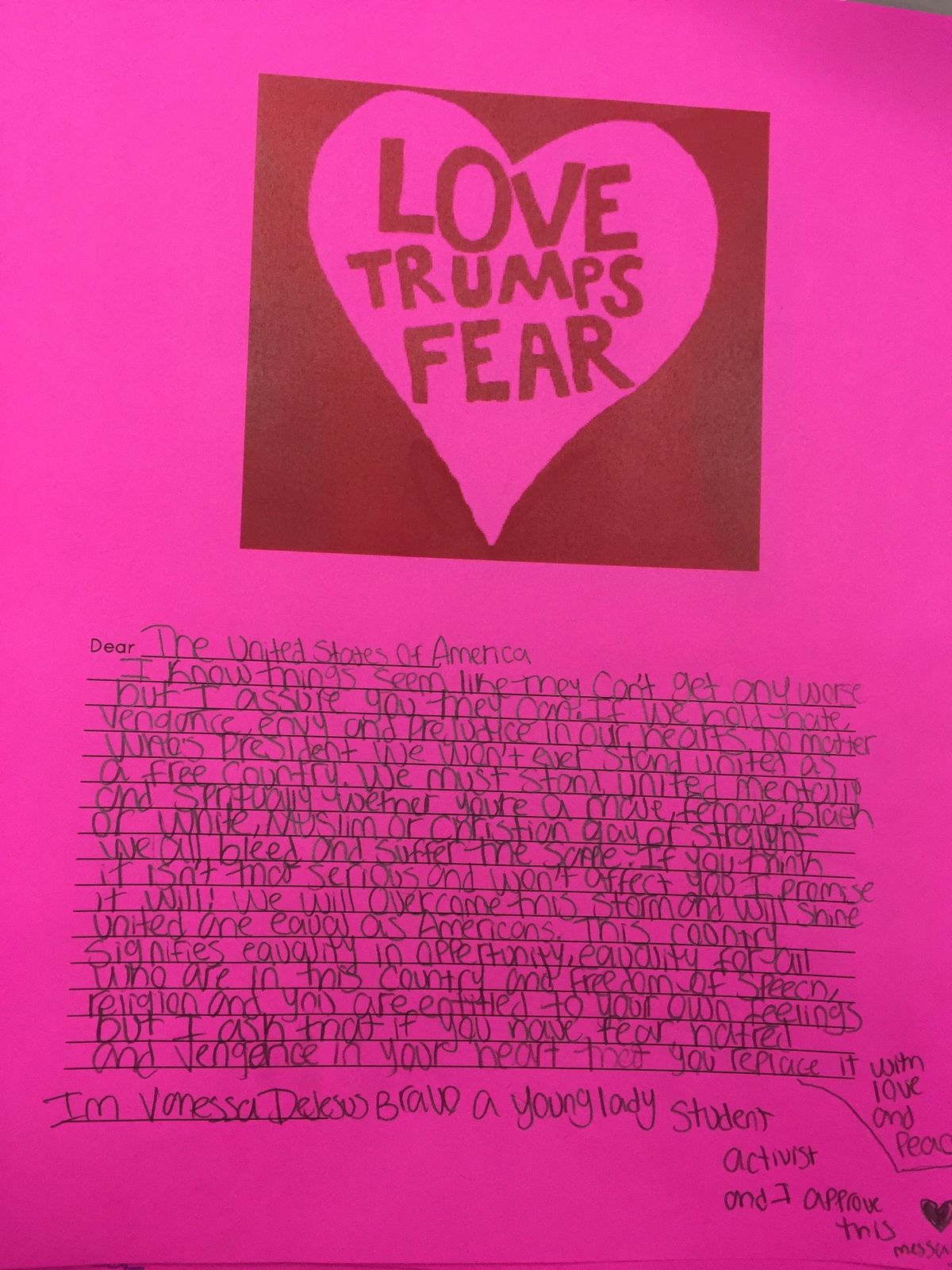 One of the letters written by Camiscoli's students.