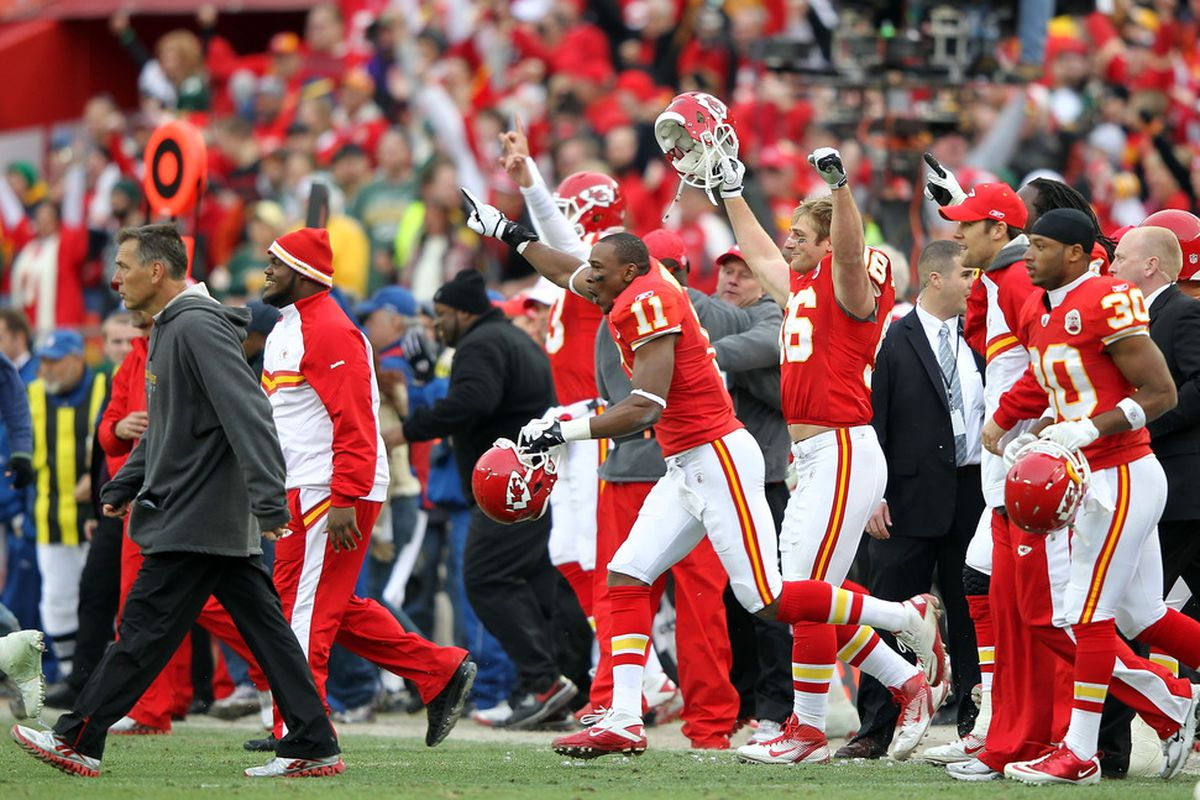 KANSAS CITY, MO - DECEMBER 18:  The Kansas City Chiefs celebrate after the Chiefs defeated the Green Bay Packers 19-14 to win the game on December 18, 2011 at Arrowhead Stadium in Kansas City, Missouri.  (Photo by Jamie Squire/Getty Images)