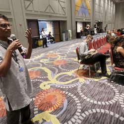 Thomas Pallithanam asks panelists a question during a thematic session titled Building Inclusive Communities Through Education at the 68th United Nations Civil Society Conference at the Salt Palace Convention Center in Salt Lake City on Monday, Aug. 26, 2019.