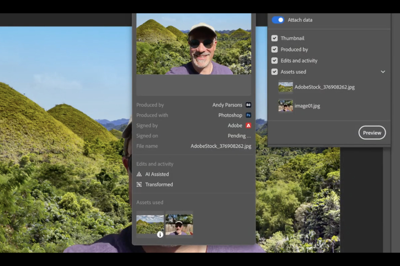 Adobe's Content Authenticity panel in Photoshop