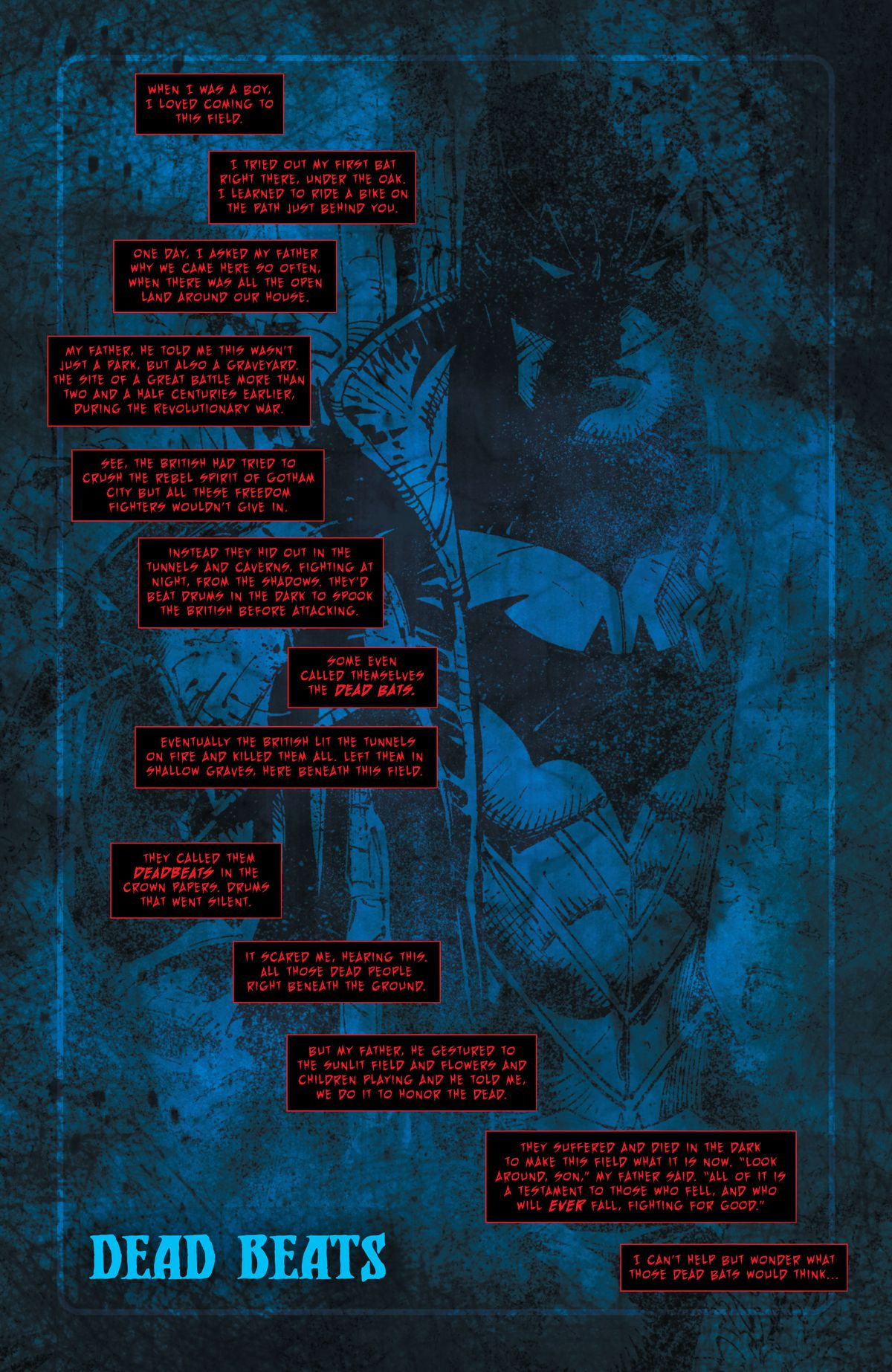 The Batman Who Laughs tells the story of how his father would take him to play on a park built atop the graves of fallen revolutionary soldiers, in Dark Nights: Death Metal #1, DC Comics (2020).