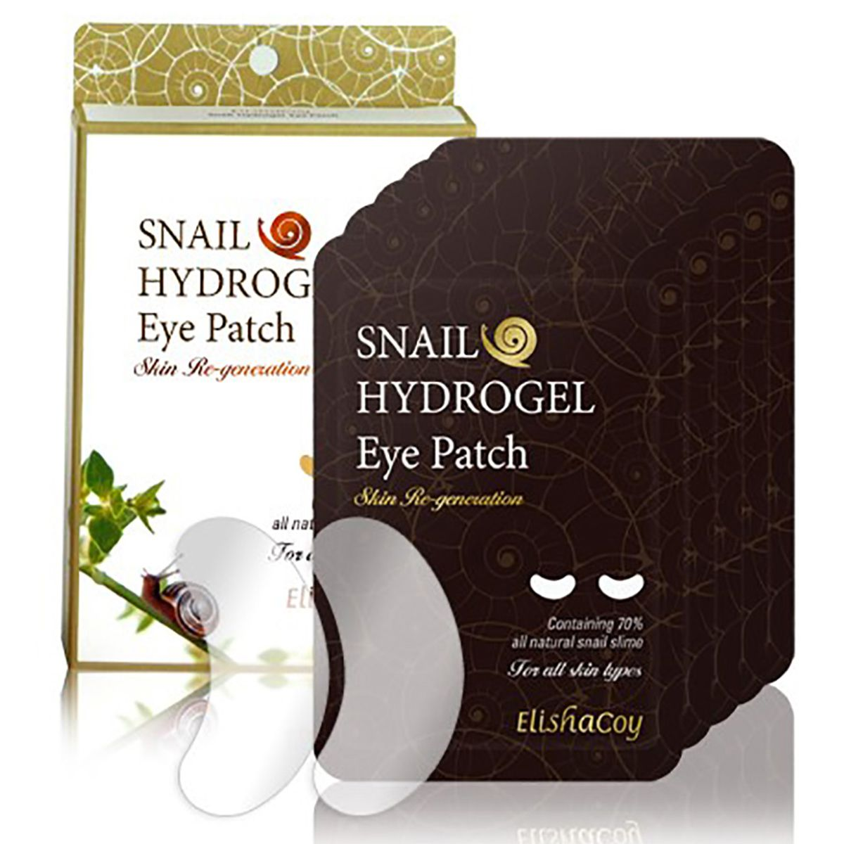 Under-eye masks made with snail slime in their packaging