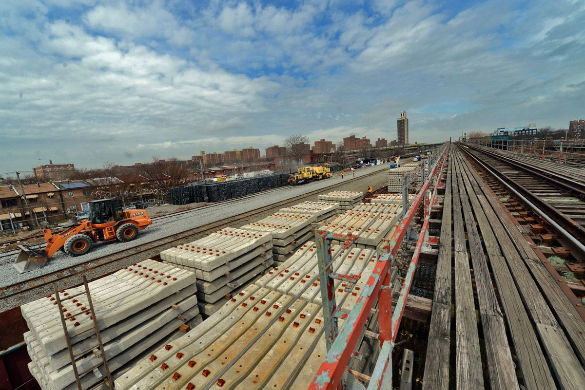 Construction at the MTA's Linden Yard in Brownsville. It is scheduled to be completed before the L Project begins.