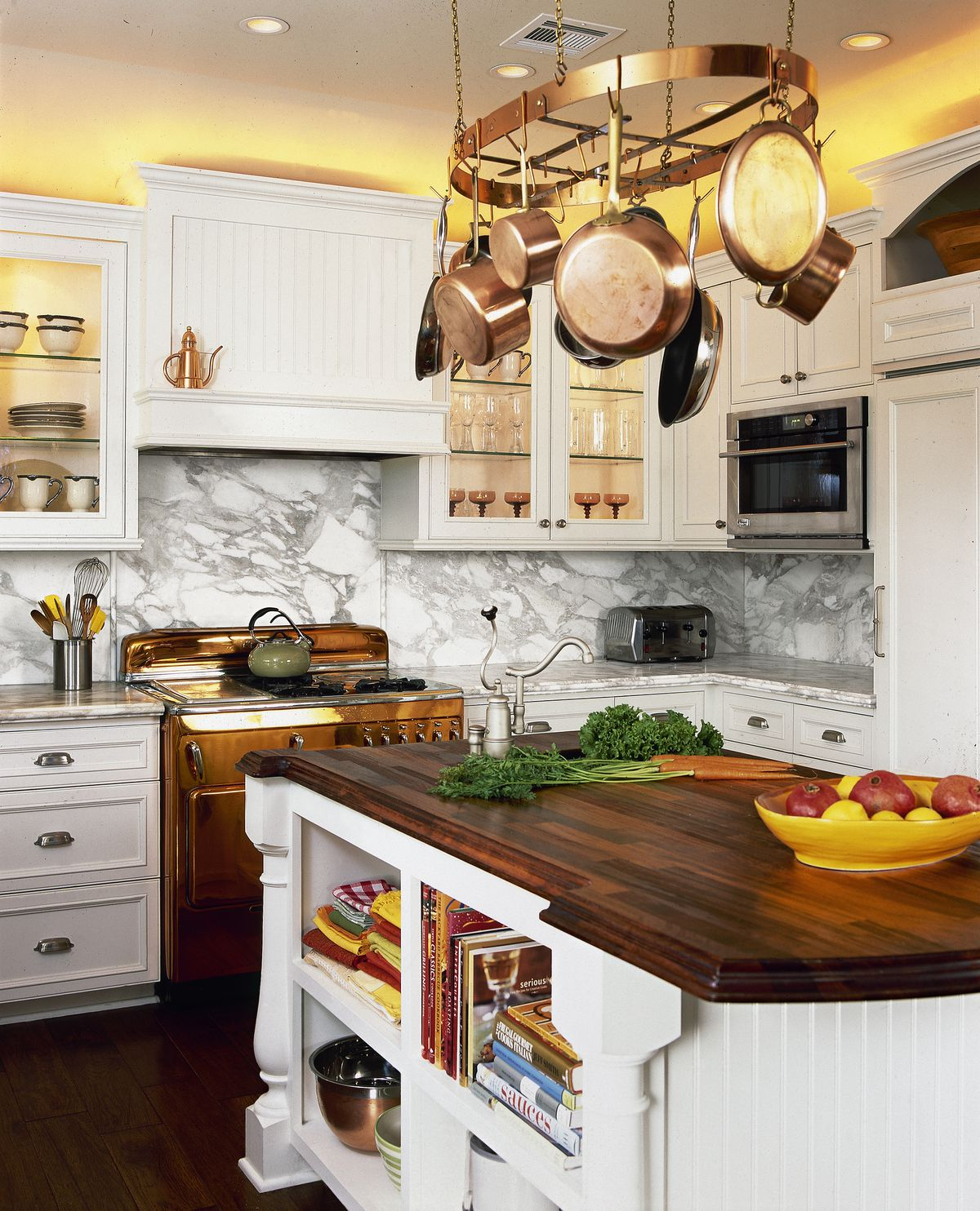 Traditional polished style wood countertop in kitchen.