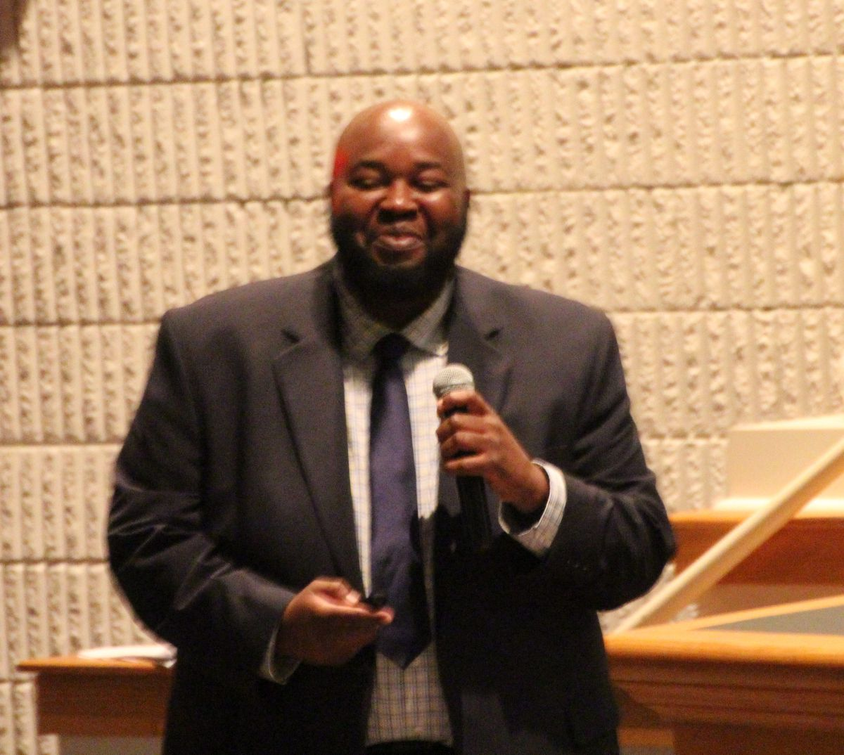 National Teacher of the Year Rodney Robinson speaks to teachers about how to rethink school discipline at teacher training event on July 16, 2019. Robinson teaches social studies at the Virgie Binford Education Center, located inside the Richmond Juvenile Detention Center in Virginia.