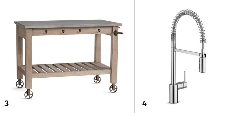 Summer 2021, Before and After Kitchen, movable kitchen island, pull-down faucet