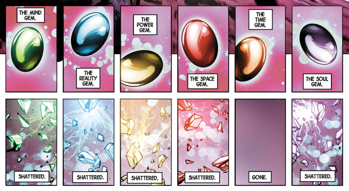 The Infinity Gems shatter in New Avengers #3, Marvel Comics (2013).