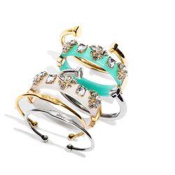 Phillips Open End Cuff, $28, Embellished Color Hinge Bracelet, $38 and Love Inscription Cuff Bracelet, $28.
