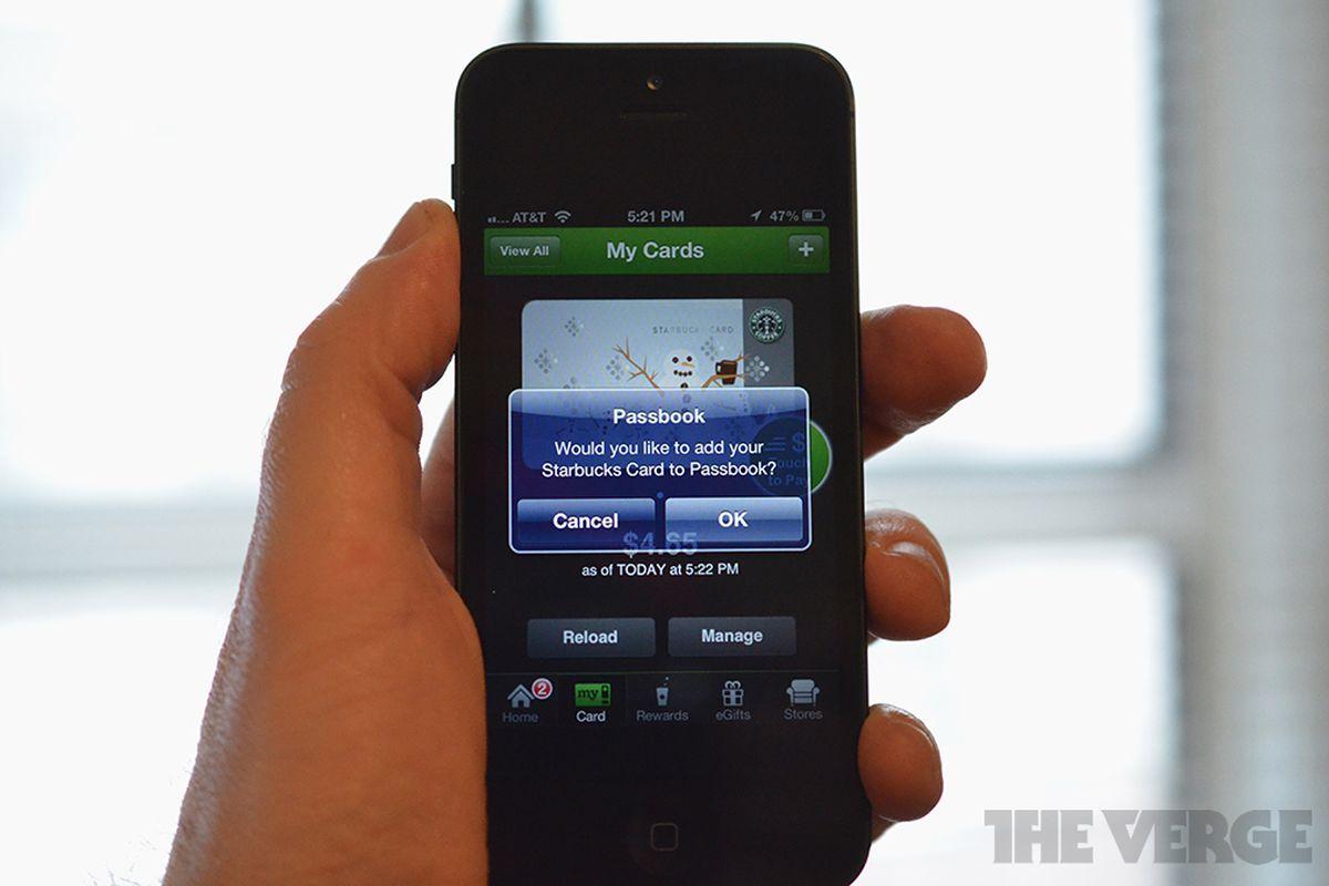 Starbucks iOS app update with Passbook