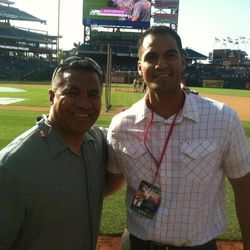 Vai Sikahema and Justin Su'a at Citizens Bank Park in Philadelphia.