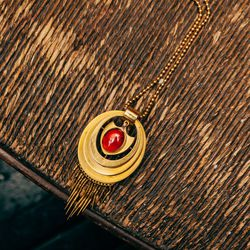 1870's 14K Gold and Garnet Pendant on a 1960's 14K Ball Chain, $2,750