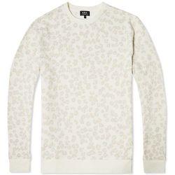 "<strong>A.P.C.</strong> Leopard Print Sweatshirt in White, <a href=""http://uscheckout.apc.fr/browse.cfm/4,3707.html?nav=men"">$180</a>"