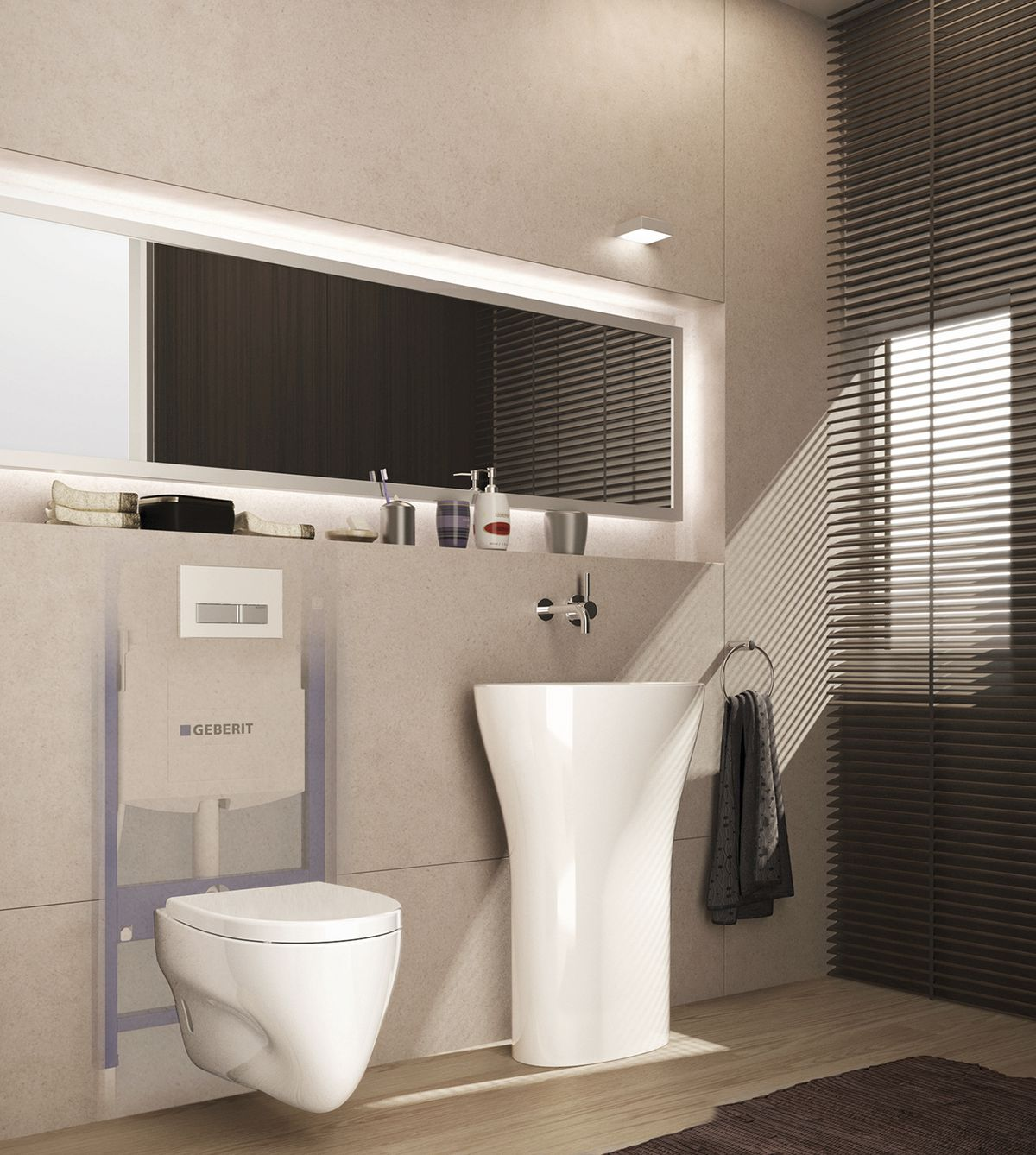 Wall mounted toilet.