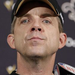 FILE - This Jan. 14, 2012 file photo shows New Orleans Saints head coach Sean Payton speaks during a postgame news conference after an NFL divisional playoff football game against the San Francisco 49ers, in San Francisco. NFL Commissioner Roger Goodell has rejected the appeals of coach Sean Payton and other New Orleans Saints officials stemming from the league's probe into the club's bounty system. After hearing from Payton, general manager Mickey Loomis and assistant head coach Joe Vitt last week, Goodell decided Monday, April 9, 2012,  to uphold his initial sanctions, which include Payton's suspension for the entire 2012 season.