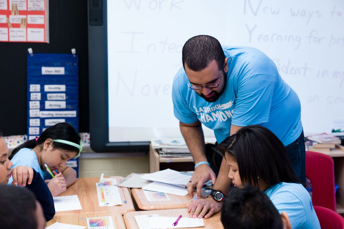 The author in his classroom.
