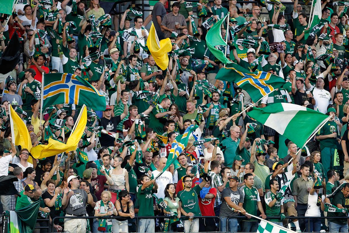 Charles Renken never appeared in Major League Soccer play, so here's a picture of Portland Timbers fans.