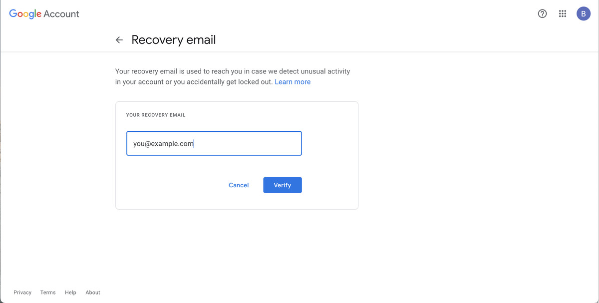 You can include a verified recovery email to help you recover your account.