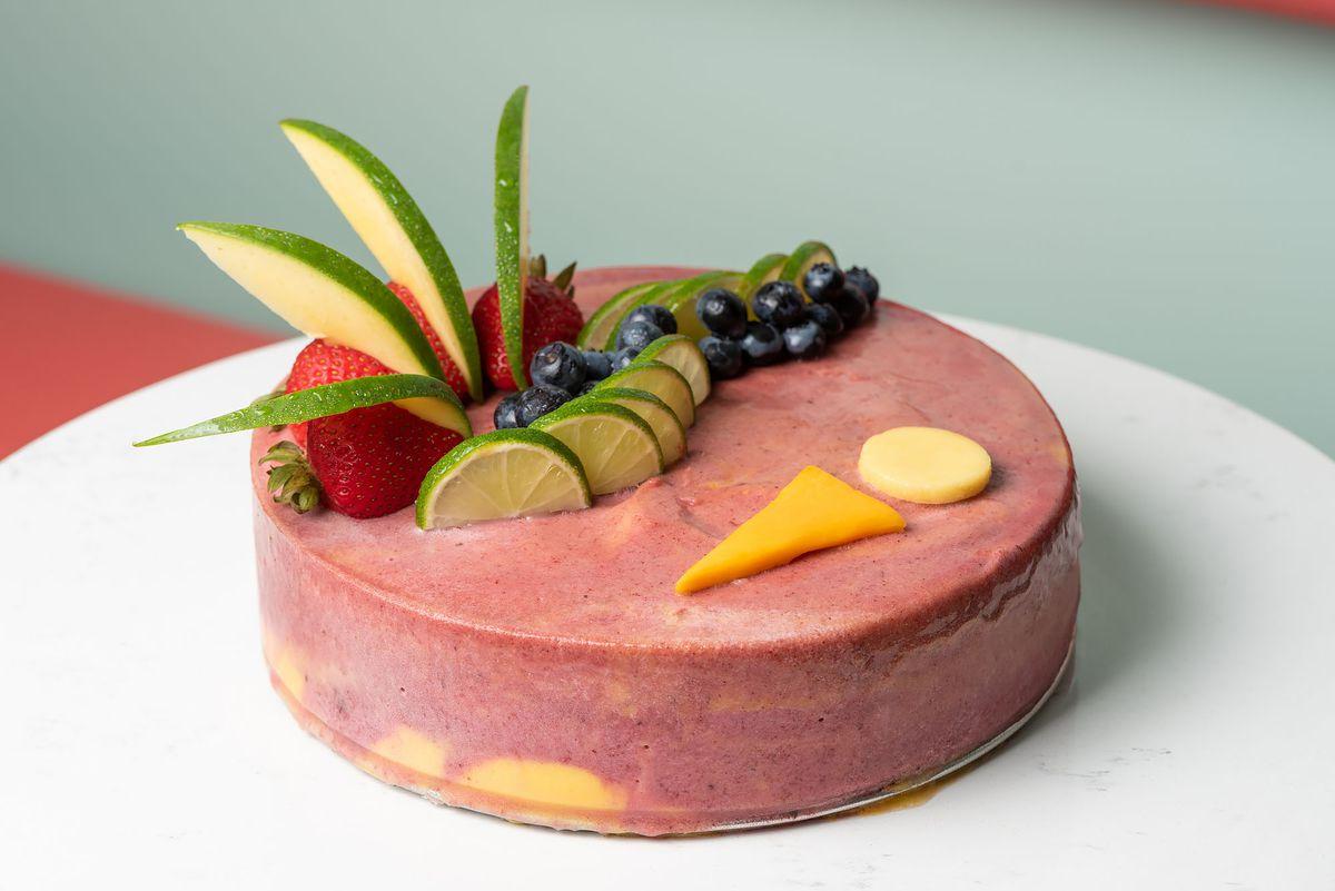 A fruit-laden gelato cake.