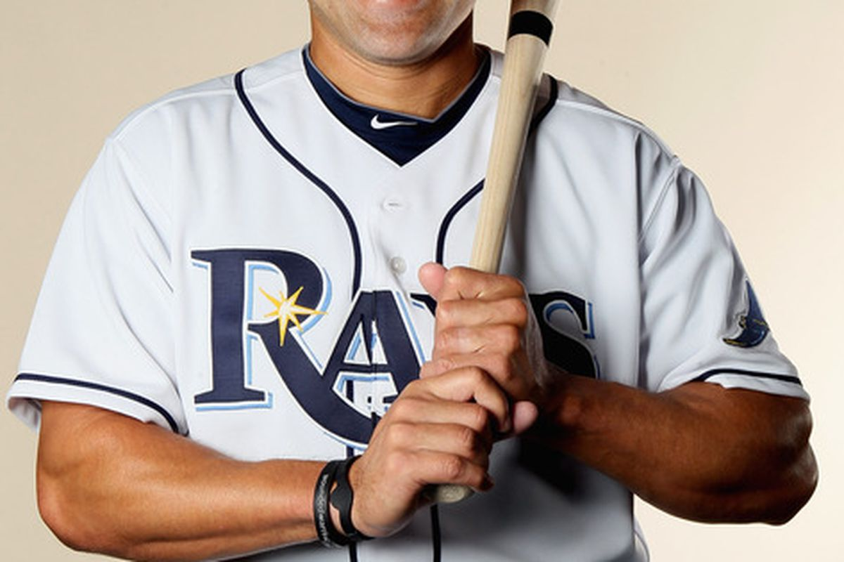 FT. MYERS FL - FEBRUARY 22:  Johnny Damon #22 of the Tampa Bay Rays poses for a portrait during the Tampa Bay Rays Photo Day on February 22 2011 at the Charlotte Sports Complex in Port Charlotte Florida.  (Photo by Elsa/Getty Images)