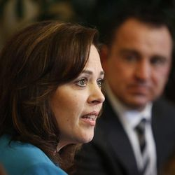 House Speaker Becky Lockhart, R-Provo, answers questions during a press availability in her office at the Utah Capitol in Salt Lake City on Monday, Jan. 27, 2014. Behind her is Rep. Greg Hughes, R-Draper. Lockhart, the first woman to serve as Utah House speaker, died at her home Saturday, Jan. 17, 2015, from an unrecoverable and extremely rare neurodegenerative brain disease. Lockhart she was 46.