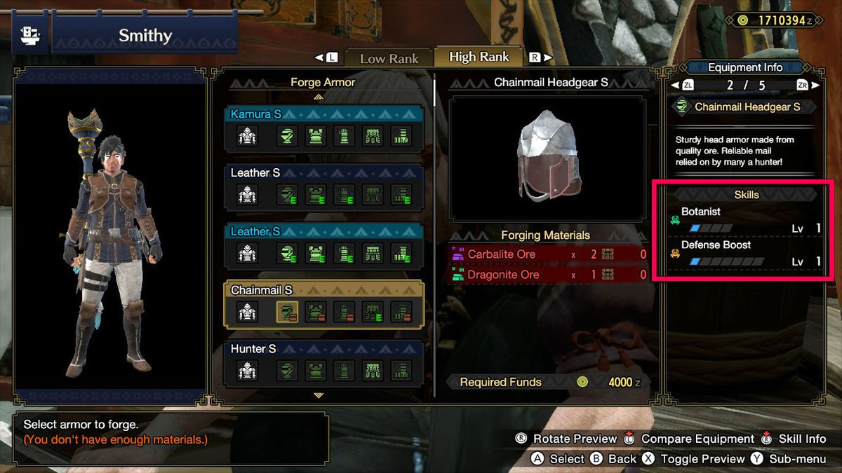 The Chainmail Headgear S info screen in Monster Hunter Rise