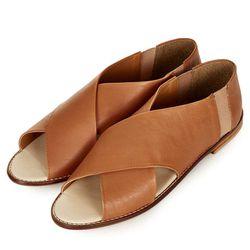 "<a href=""http://us.topshop.com/webapp/wcs/stores/servlet/ProductDisplay?beginIndex=0&viewAllFlag=&catalogId=33060&storeId=13052&productId=10840350&langId=-1&categoryId=&searchTerm=sandals&pageSize=200"">Kasp Cross-Over Peep Shoes</a>, $90 at Topshop"