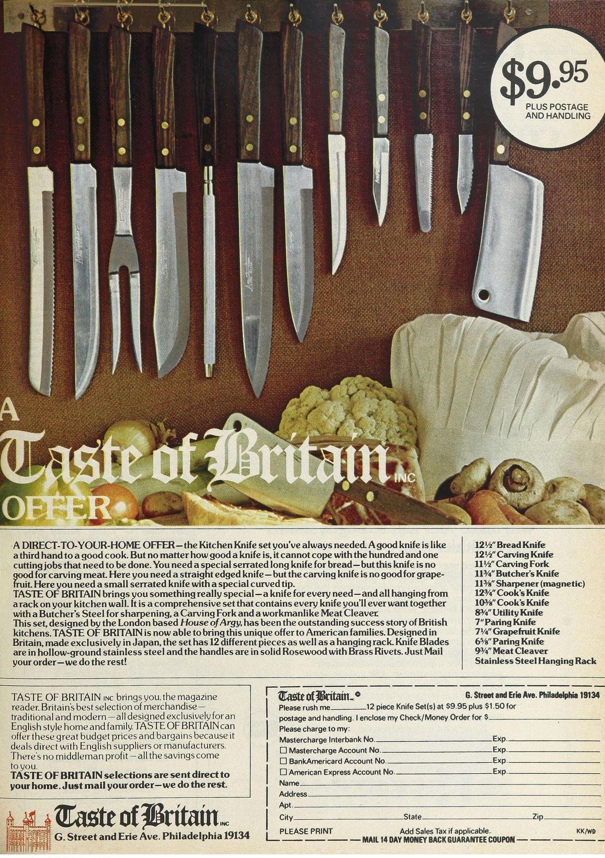 Vintage ad for A Taste of Britian knife sets