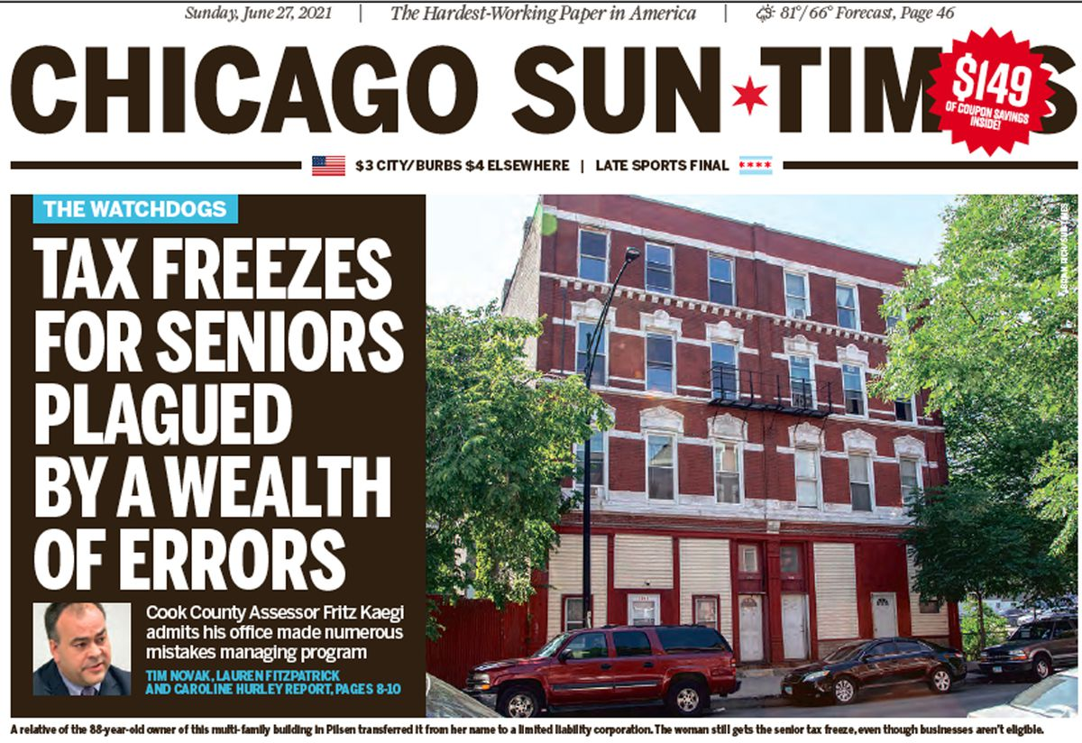 Click here to read the June 27 Sun-Times report on errors in Cook County Assessor Fritz Kaegi's handling of senior property tax freezes.