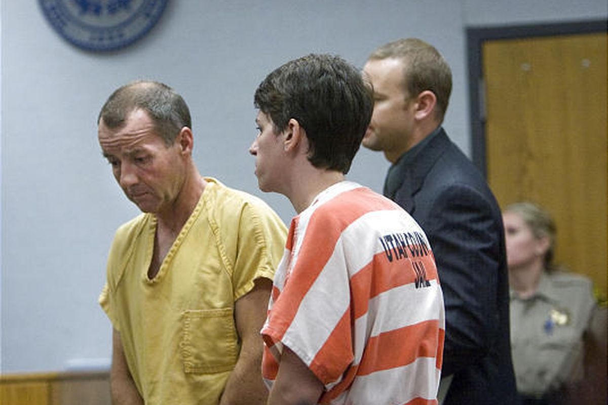 Roger and Pam Mortenson appear in Provo's 4th District Court Monday in the slaying of Roger Mortenson's father.