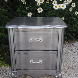 """Silver vintageFrench provincial nightstand, $80 from <a href=""""http://www.thepaintwagon.com/"""">The Paint Wagon</a>"""