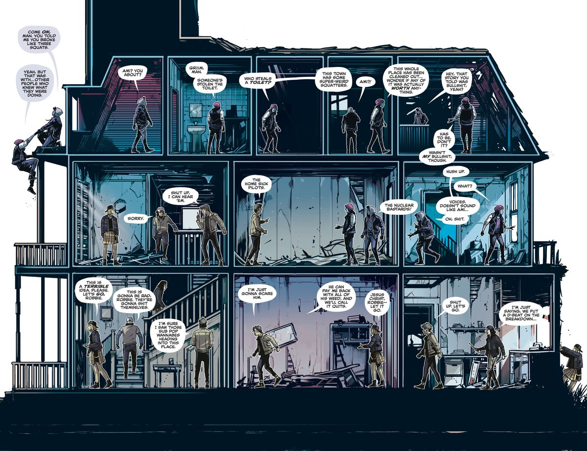 In a double page spread that is also a cutaway diagram of a dilapidated house, two groups of teenagers converge on one another from their opposite points of ingress, in Home Sick Pilots #1, Image Comics (2020).