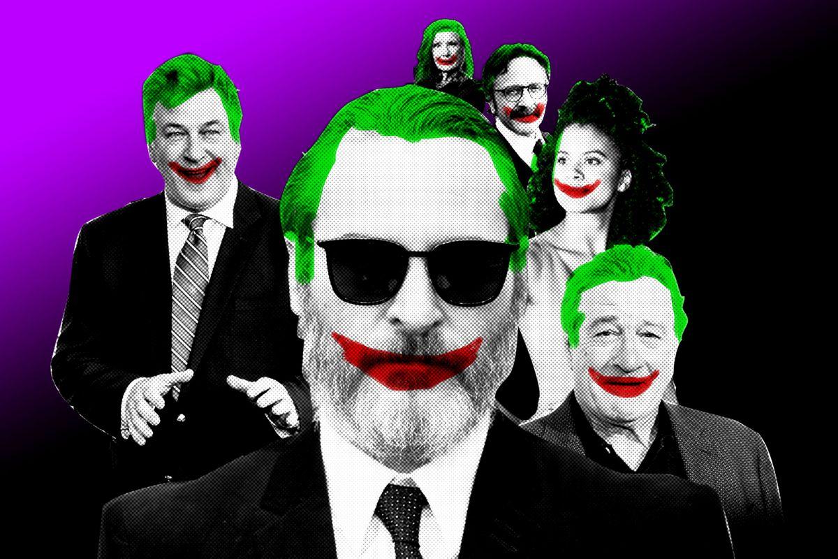 A Joker-themed photo illustration of Alec Baldwin, Joanquin Phoenix, Robert De Niro, Zazie Beetz, Marc Maron, and Frances Conroy