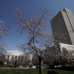 The Church Office Building of The Church of Jesus Christ of Latter-day Saints is pictured during the 190th Annual General Conference on Saturday, April 4, 2020, in Salt Lake City. Due to the spread of COVID-19, the conference, normally held at the 21,000-seat Conference Center, is being broadcast from the Church Office Building without church members in attendance.