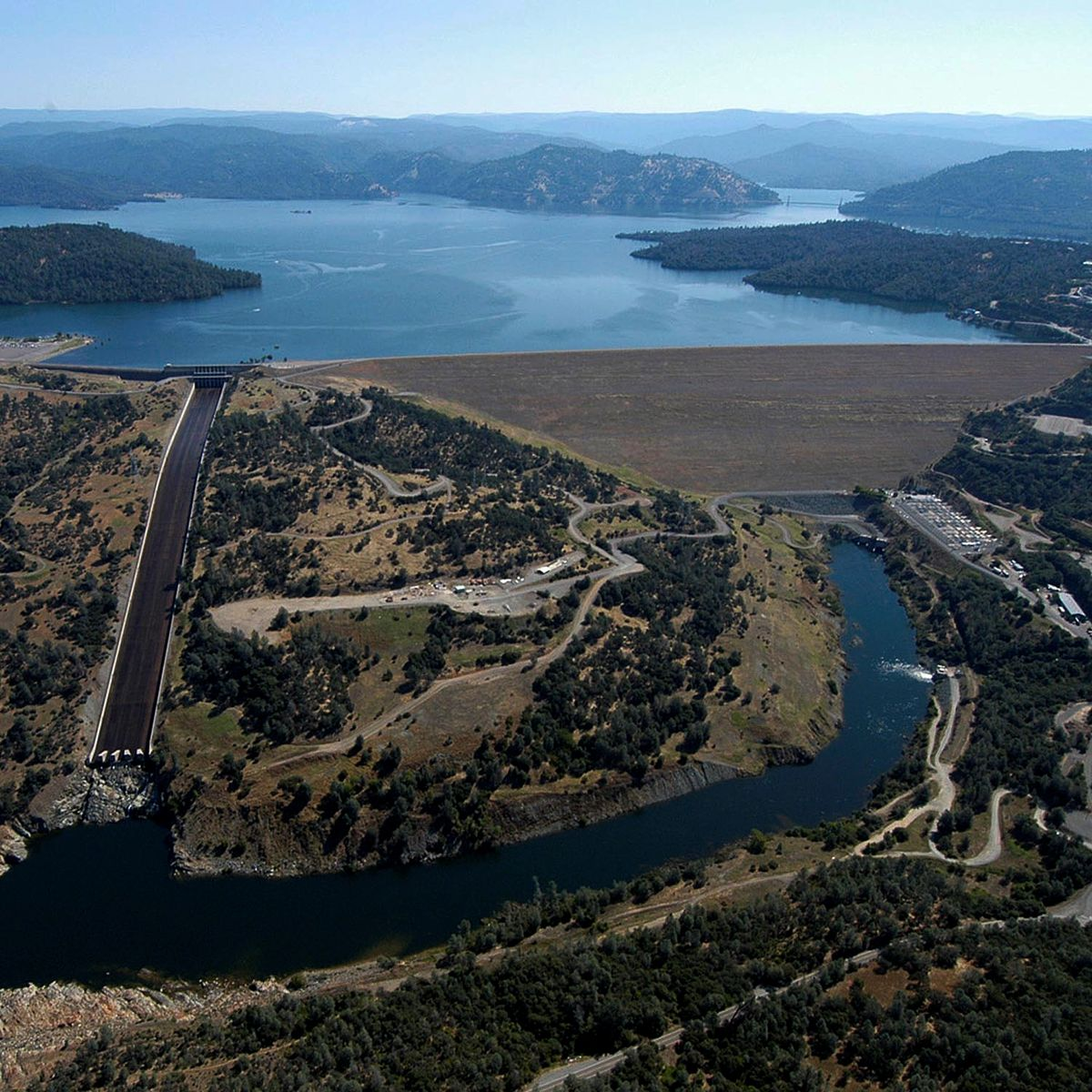 A huge mass of water behind the Oroville dam.