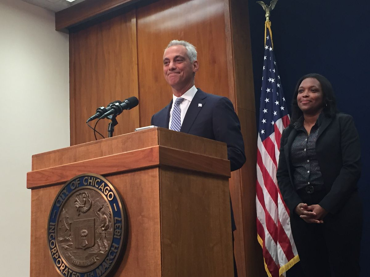 Mayor Rahm Emanuel speaks at City Hall Thursday as Janice Jackson, Chicago Public Schools chief education officer, looks on. Photo by Sam Charles.