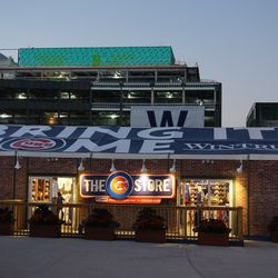Advertising banner on top of the Cubs Store, on Clark Street