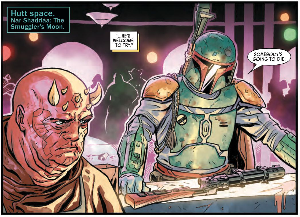 """""""Somebody's going to die,"""" says Boba Fett as he lays his gun on a bar counter in Star Wars: War of the Bounty Hunters #1, (2021)."""