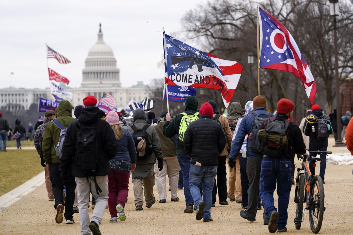 Supporters of President Donald Trump march toward the Capitol Jan. 6.