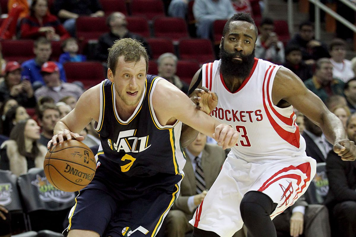 Battle of the Lefties! James Harden appears to be regretting the nightmares he'll be having later about Ingles dominating him on the court with the ball and apparent odor