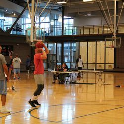 Jimmer Fredette strokes a 3-pointer during his Jimmerosity Jam 3on3 Tournament to Stop Bullying in Provo earlier this summer.